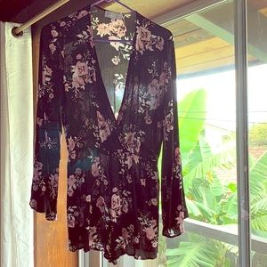 K+K long sleeve floral romper